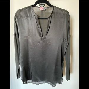 Vince silk charcoal grey top